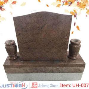 upright headstones with vase