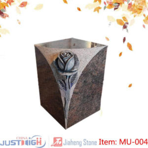 memorial urn with flower carving