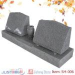 Wholesale low price Chinese grey granite slant design double headstones with grave vase